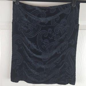 Free People Rouched Black Velvet Burnout Skirt